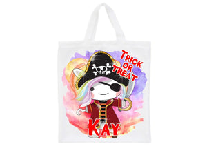 Halloween pirate unicorn personalised trick or treat tote bag