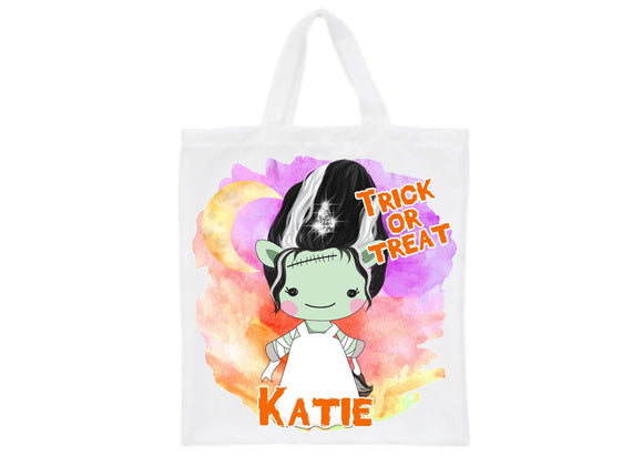 Halloween zombie bride unicorn trick or treat personalised tote bag