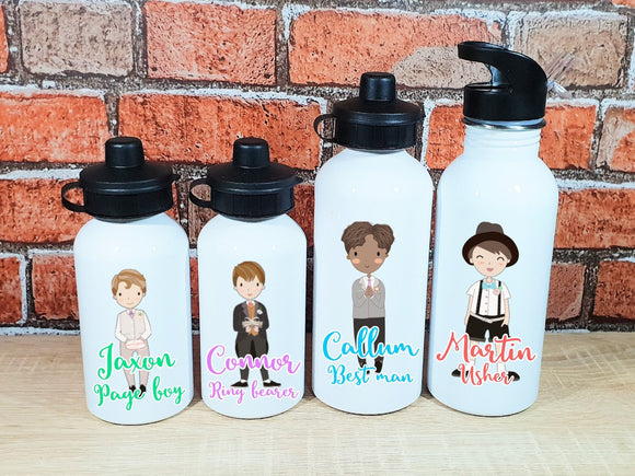 Personalised wedding day page boy usher best man water bottle