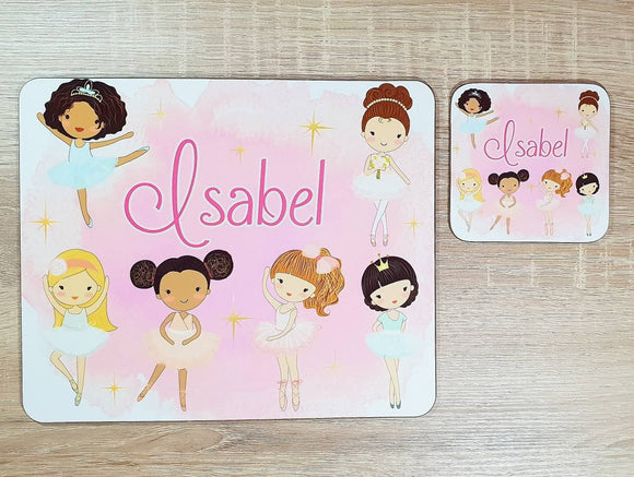 Ballerina placemat and coaster dining set