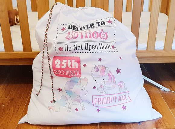 Personalised pink unicorn large Santa sack