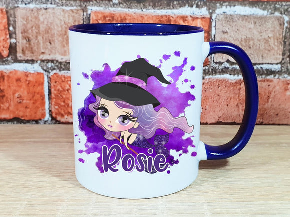 Witch mermaid personalised Halloween mug in various colours