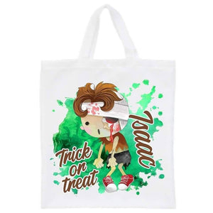 Personalised halloween green zombie trick or treat tote bag