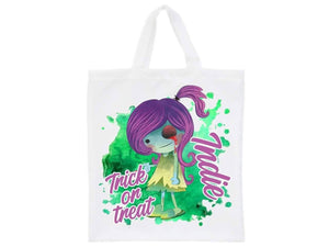 Personalised halloween green purple zombie trick or treat tote bag