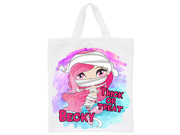Halloween mummy mermaid personalised trick or treat tote bag