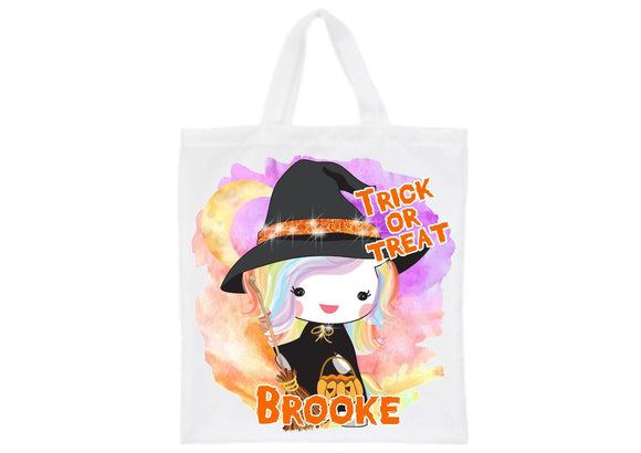 Personalised Halloween witch unicorn trick or treat tote bag