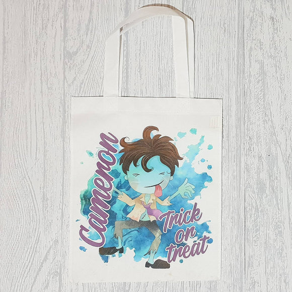 Personalised halloween blue zombie trick or treat tote bag