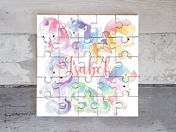 Personalised watercolour unicorn MDF square jigsaw puzzle