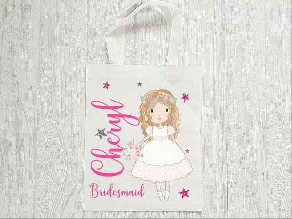 Bridesmaid flower girl wedding day tote bag