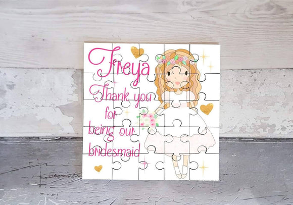 Chief bridesmaid flower girl personalised jigsaw