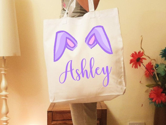Pink blue or purple Easter egg hunt personalised tote bag