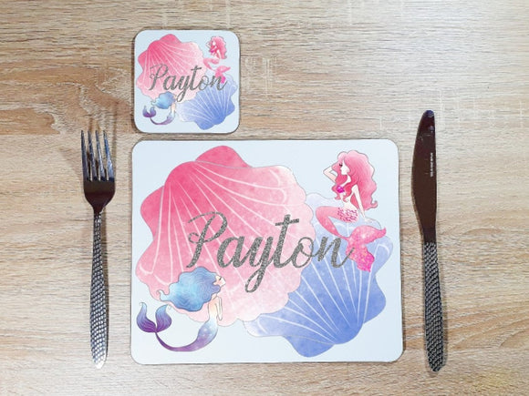 Mermaid glitter pink and blue blue coaster and placemat dining set