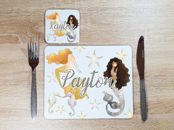 Mermaid gold and silver placemat and coaster dining set