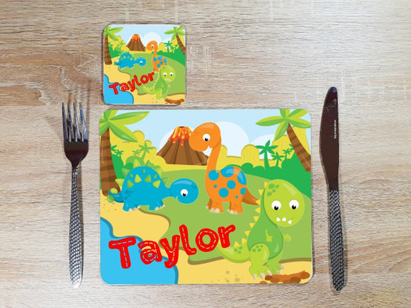 Personalised dinosaur placemat and coaster dining set