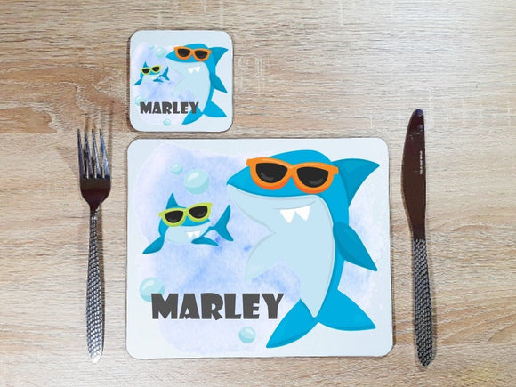 Personalised shark in sunglasses dining set placemat and coaster