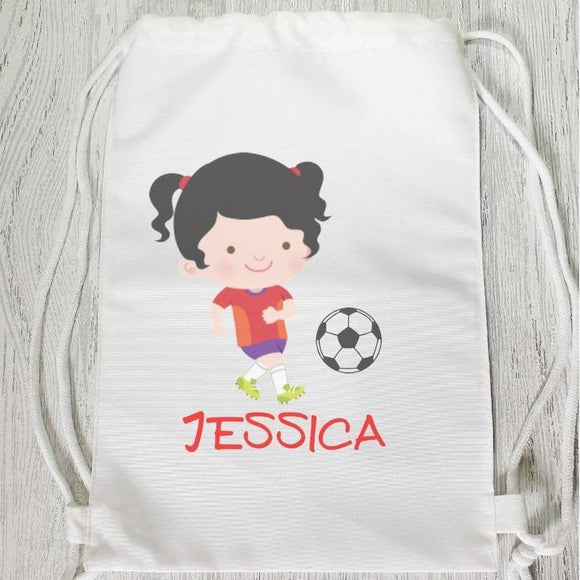 Football girl sports gym drawstring bag