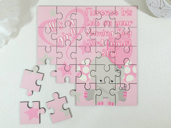New baby girl personalised jigsaw puzzle