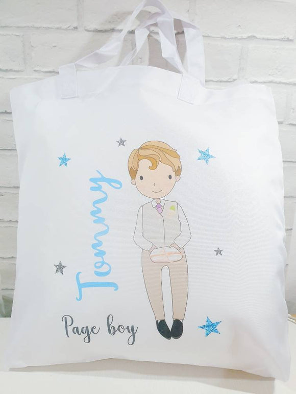 Page boy ring bearer usher best man wedding day personalised tote bag