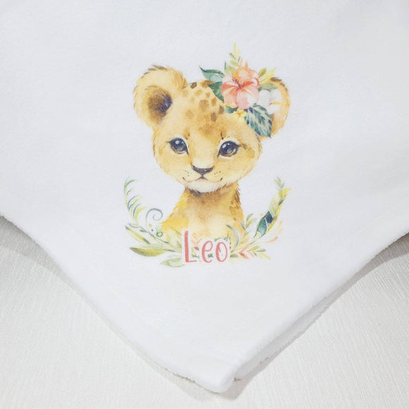 Lion baby personalised throw blanket