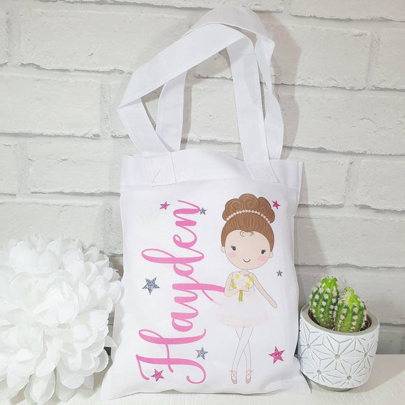 Dancing ballerina personalised tote bag