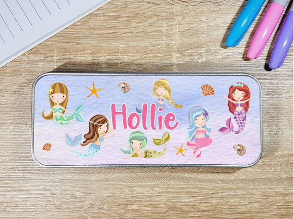 Mermaid personalised stationary pencil tin