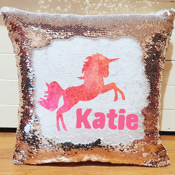 Rose gold personalised unicorn sequin reveal cushion