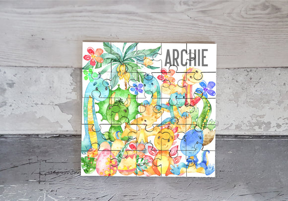 Watercolour dinosaur MDF square jigsaw puzzle personalised
