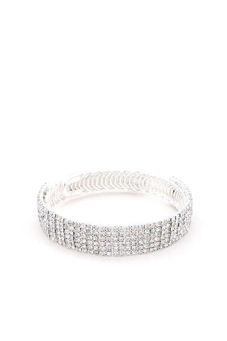 Rhinestone Flexible Metal Bracelet