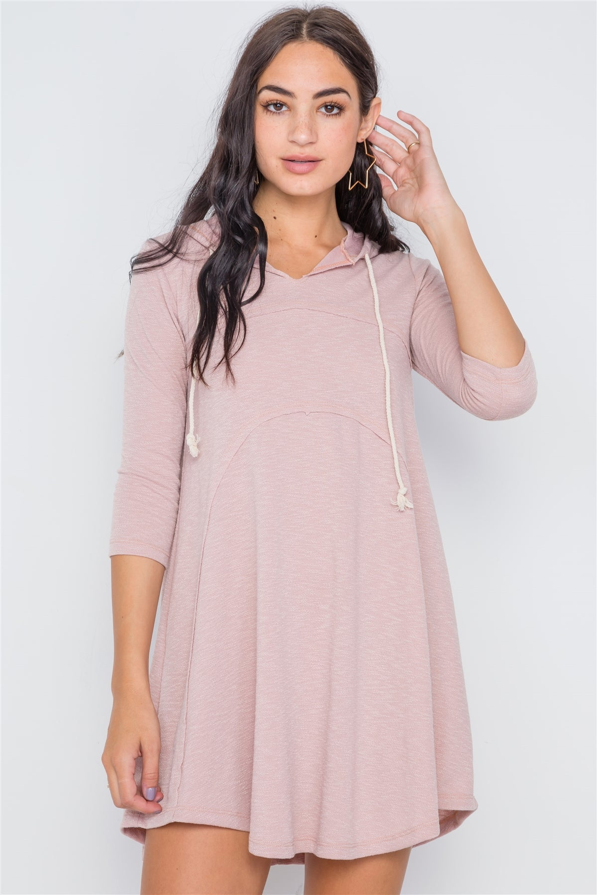 3/4 Sleeve Knit Hooded Mini Dress