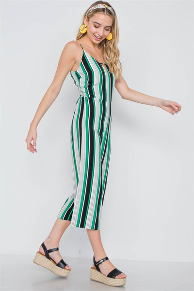 Green Stripe Cami Wide Leg Capri Jumpsuit