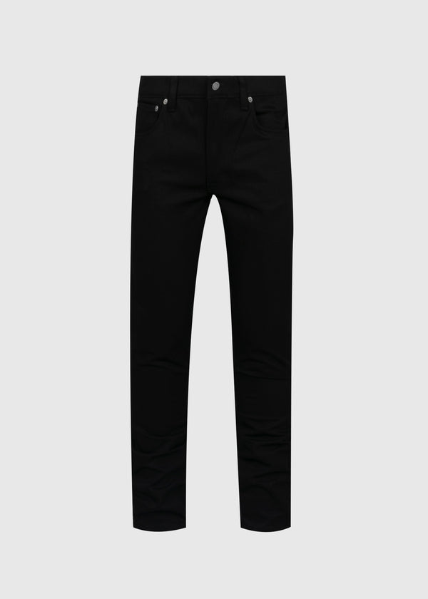 NUDIE: LEAN DEAN DRY COLD DENIM JEANS [BLACK]