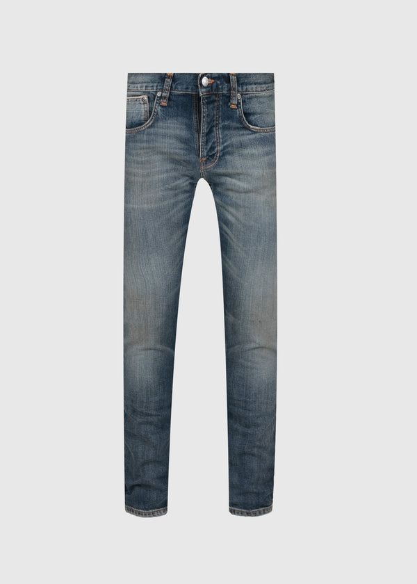 NUDIE: GRIM TIM DRY SELVAGE DENIM JEANS [INDIGO]