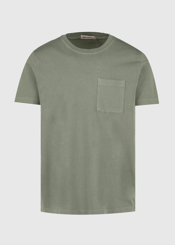 NUDIE: ROY ONE POCKET TEE [GREEN]