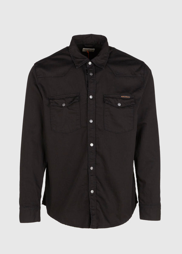 NUDIE JEANS CO.: GEORGE DARK SHIRT [BLACK]