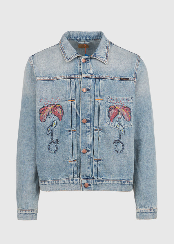 NUDIE JEANS CO.: FLOWER DENIM JACKET [INDIGO]