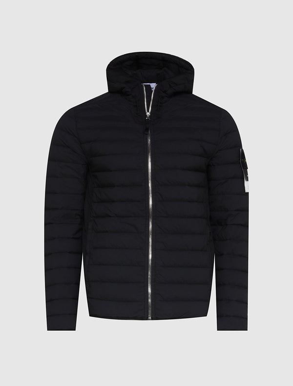 STONE ISLAND: LOOM WOVEN DOWN CHAMBERS STRETCH NYLON-TC JACKET [BLACK]