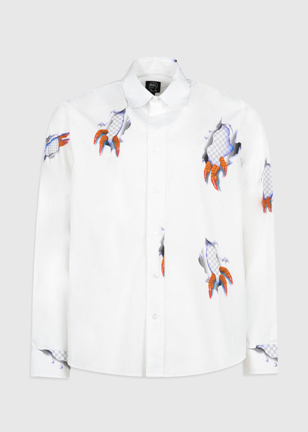 BRAIN DEAD: CLAW BUTTON UP SHIRT [WHITE]