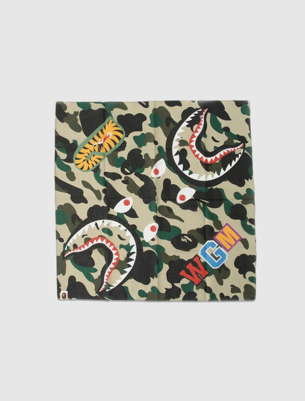 A BATHING APE: 1st CAMO SHARK BANDANA [YELLOW]