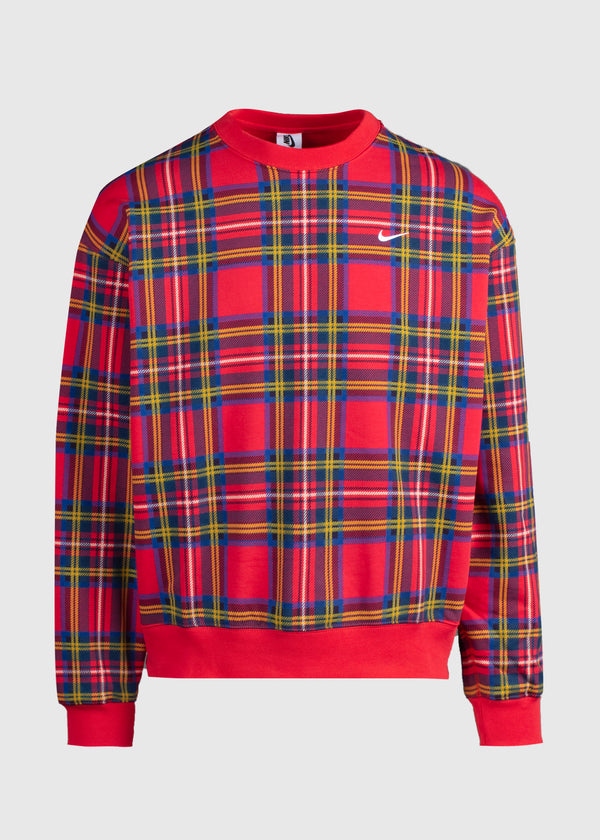 NIKE: SWOOSH PLAID CREWNECK [RED]