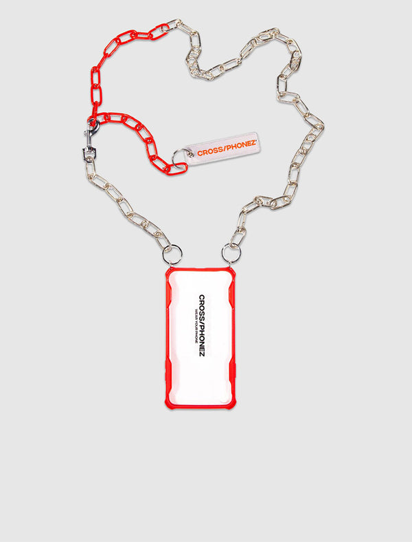 CROSS/PHONEZ: CHAIN PHONE CASE [RED/SILVER]