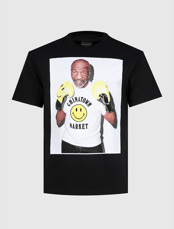 CHINATOWN MARKET X MIKE TYSON: SMILEY PHOTO TEE [BLACK]