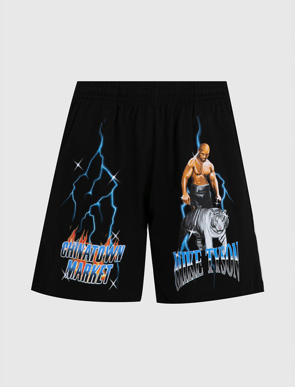 CHINATOWN MARKET X MIKE TYSON: TIGER SHORTS [BLACK]