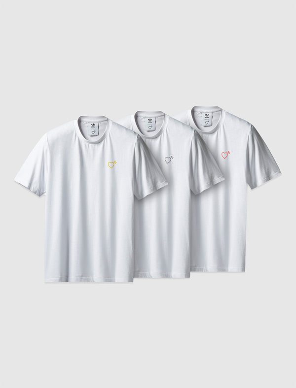 ADIDAS X HUMAN MADE: 3 PACK TEE [WHITE]
