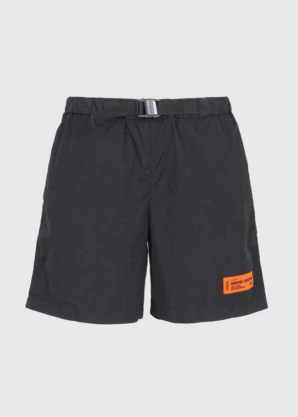 HERON PRESTON: BUCKLE SHORTS [BLACK]