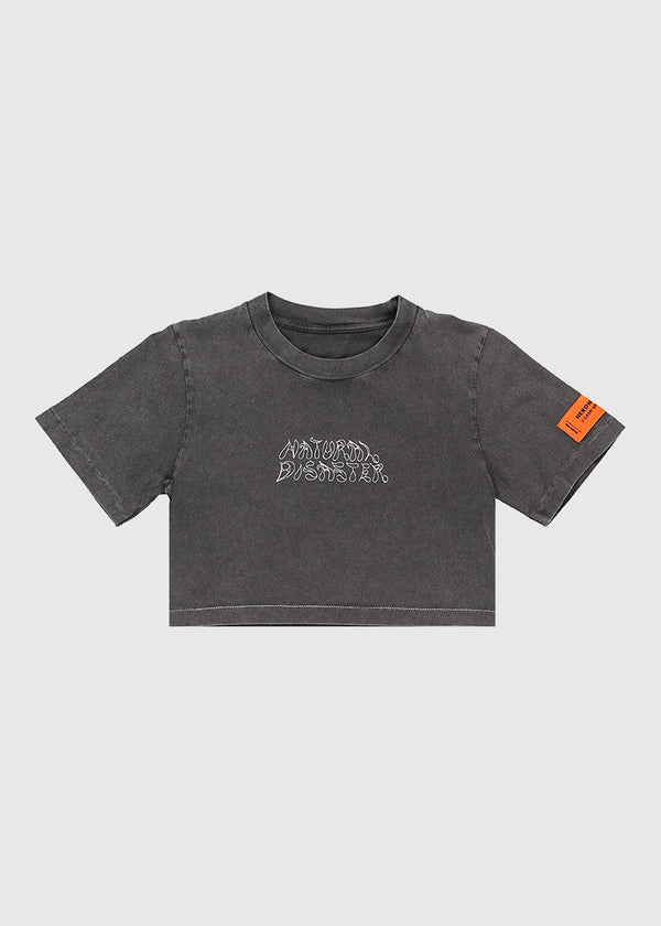 HERON PRESTON: CROP TEE [CHARCOAL]