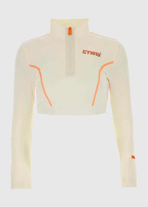 HERON PRESTON: CROPTOP LS TOP [WHITE]