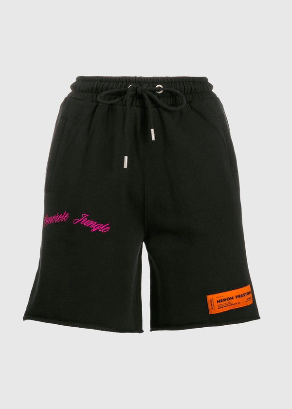 HERON PRESTON: FLEECE SHORTS [BLACK]