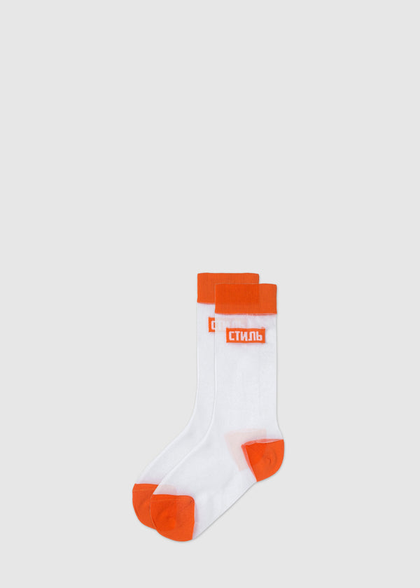 HERON PRESTON: SHEER CTNMB SOCKS [WHITE]