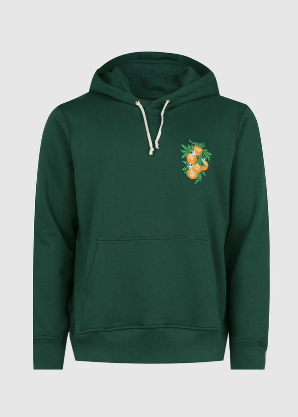 CASABLANCA: ORANGE LOGO HOODIE [GREEN]