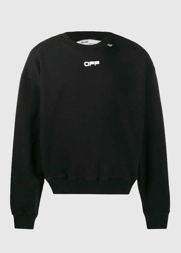 OFF-WHITE: WAVYLINE CREWNECK [BLACK]